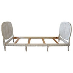 20th Century Louis XVI Style Original Painted French Cane Daybed