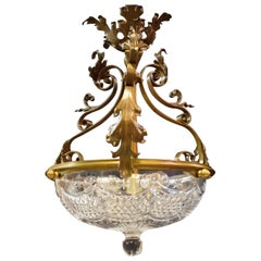 Antique Chandelier with Crystal Bowl