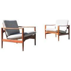 Pair of Teak Danish Lounge Chairs by Illum Wikkelso