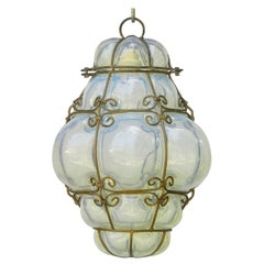 Seguso Murano Pendant Light Italian Vintage Handblown Opalescent Bubble Glass