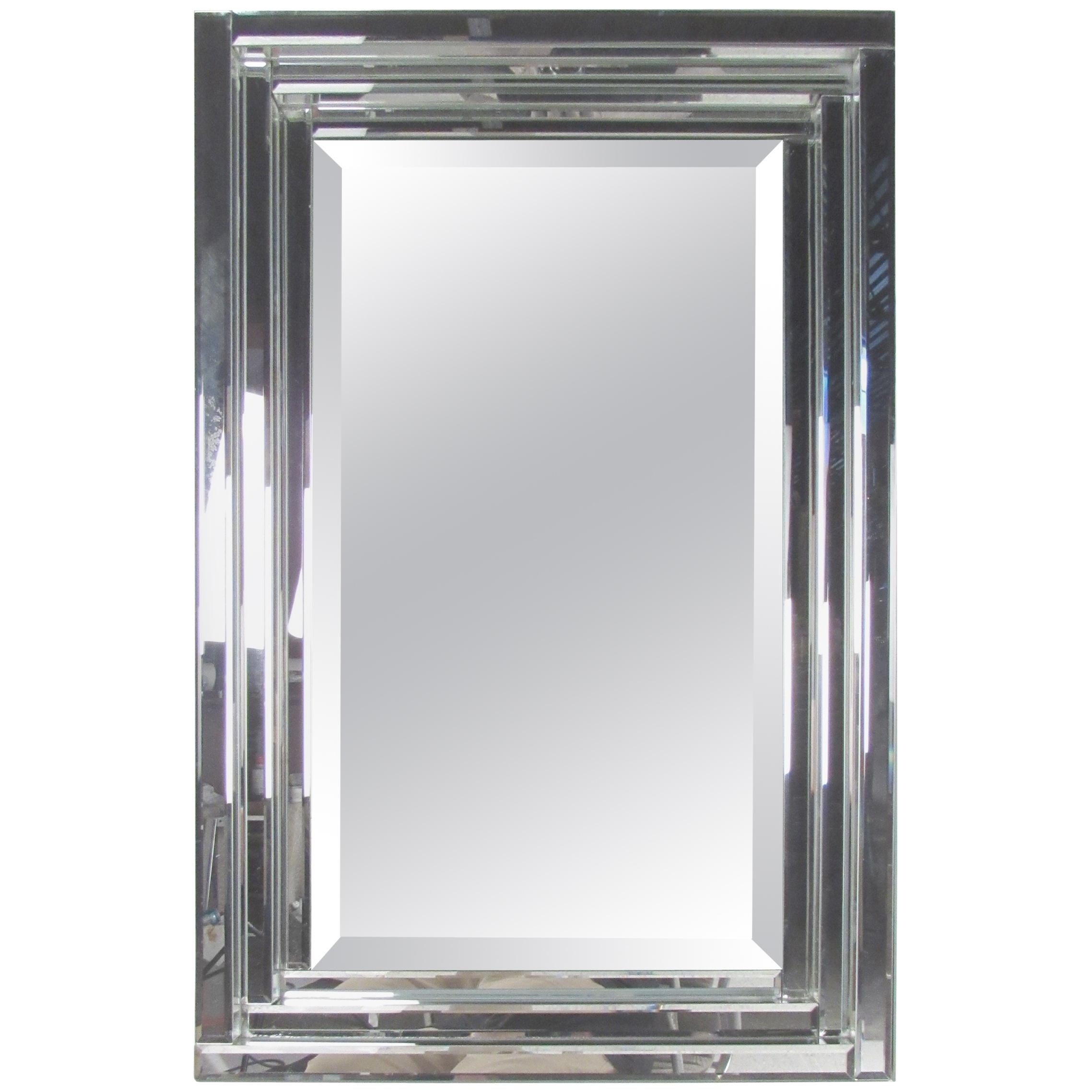 Contemporary Modern Wall Mirror With Bevelled Edge For Sale