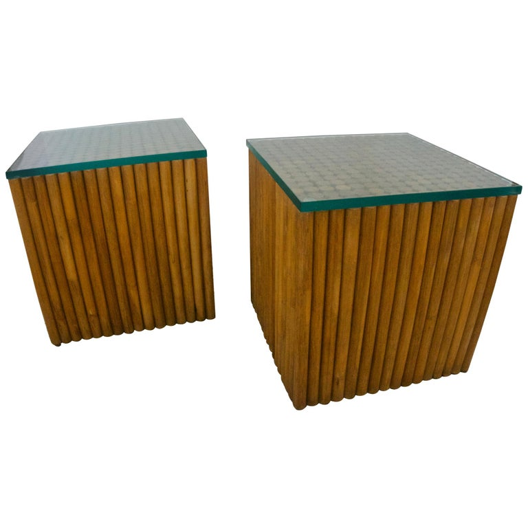 Pair of Square, Vintage Rattan Side Tables For Sale