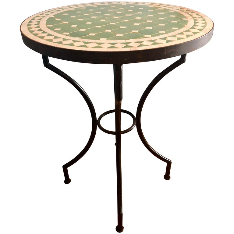 Moroccan Micro Mosaic Green Tabletop on a Wrought Iron Base