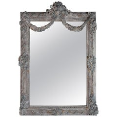 French Louis XV Rococo Style Painted Mirror with Garlands