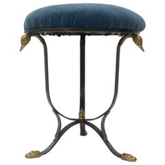 Vanity Stool in Steel and Brass