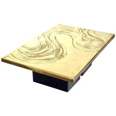 Heckscher Etched Brass Coffee Table, Belgium, circa 1970