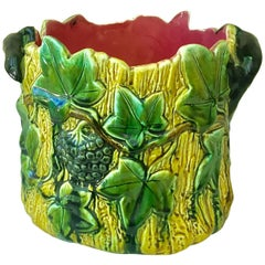 French Majolica Ivy and Lizards Jardinière, circa 1880