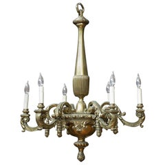 Antique French Neoclassical Brass Chandelier