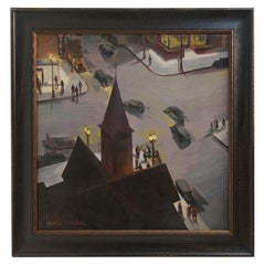 Nocturnal Cityscape Painting, American, Mid-20th Century