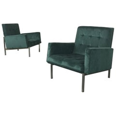 Pair of Florence Knoll Parallel Bar Velvet Lounge Chairs
