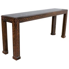 Henredon Chinese Chippendale Chinoiserie Console Sofa Table Dark Finish Fretwork