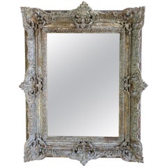 19th Century Painted and Parcel-Gilt French Frame with Mirror