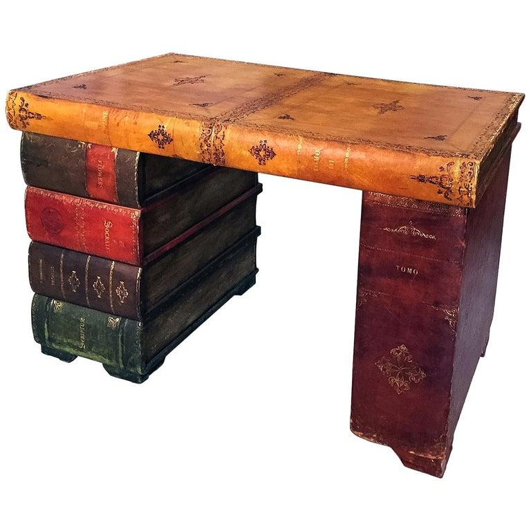 Italian Mid-Century Parchment Writing Desk, 1940s