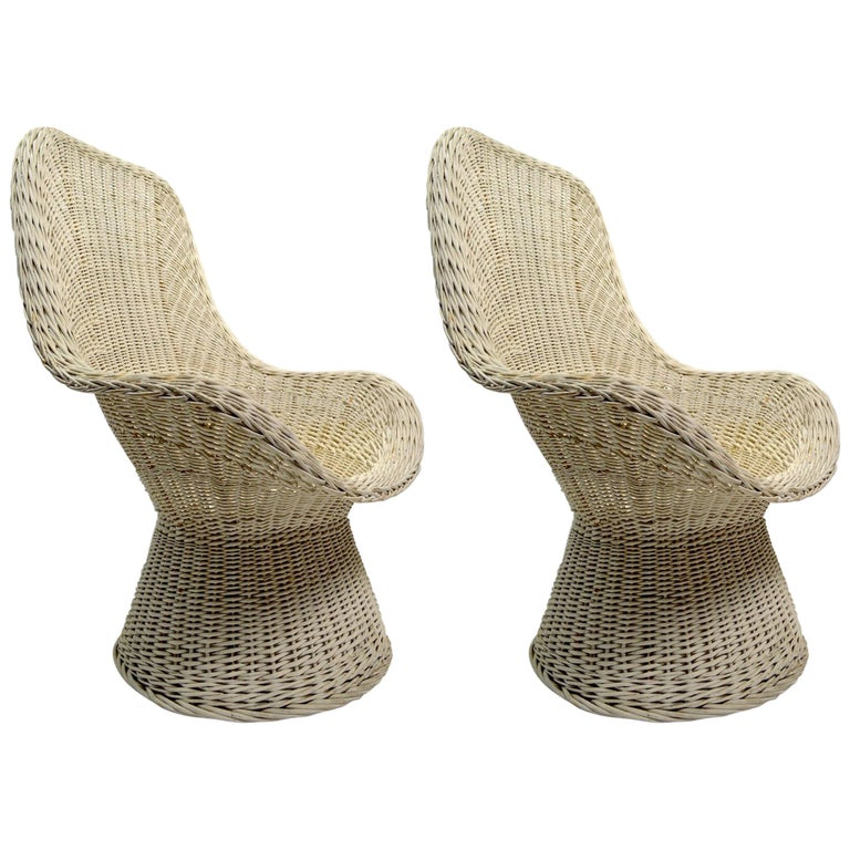 Pair of Mod Style Wicker Chairs