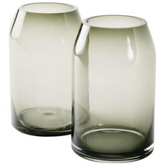 Pair of Vintage Sommerso Smoked Glass Vases