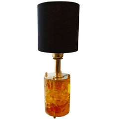 1970s Yellow and Orange Fractal Resin Cylindrical Table Lamp with Brass Base