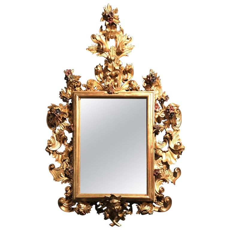 Italian Giltwood and Carved 18th Century Important Mirror