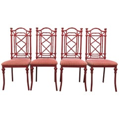 Midcentury Antique Red Coral Iron Garden Chairs Faux Bamboo Set