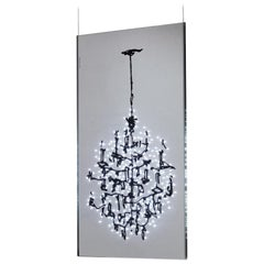 Lüster LED Chandelier in Imprinted Molded Glass by Ingo Maurer in Red or Black