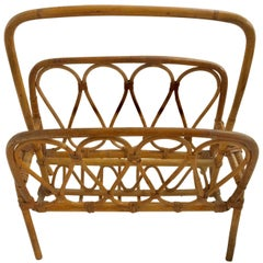 1950s French Saint Tropez Riviera Magazine Rack Rattan and Bamboo