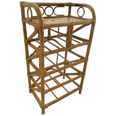 1950s French Saint Tropez Riviera Shelf Rattan and Bamboo