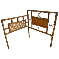 1950s French Saint Tropez Riviera Bed Rattan and Bamboo