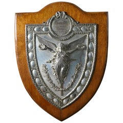 Large Arts & Crafts Shield Trophy with Nike the Goddess of Victory