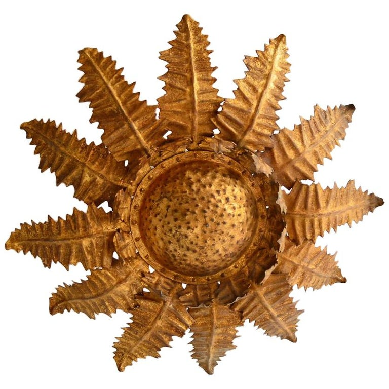 Italian Golden Floral Thistle Pendant Lamp in the Hollywood Regency Style, 1960s For Sale