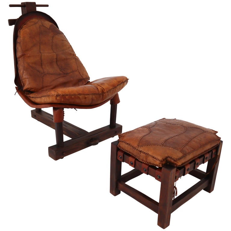 Cognac Leather Brazilian Chair and Ottoman