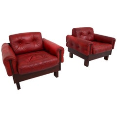 Lounge Chairs with Tufted Red Leather, Austria, 1970s