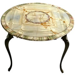 Italian 20th Century Round Book-Matched Multicolor Onyx Table With Bronze Legs