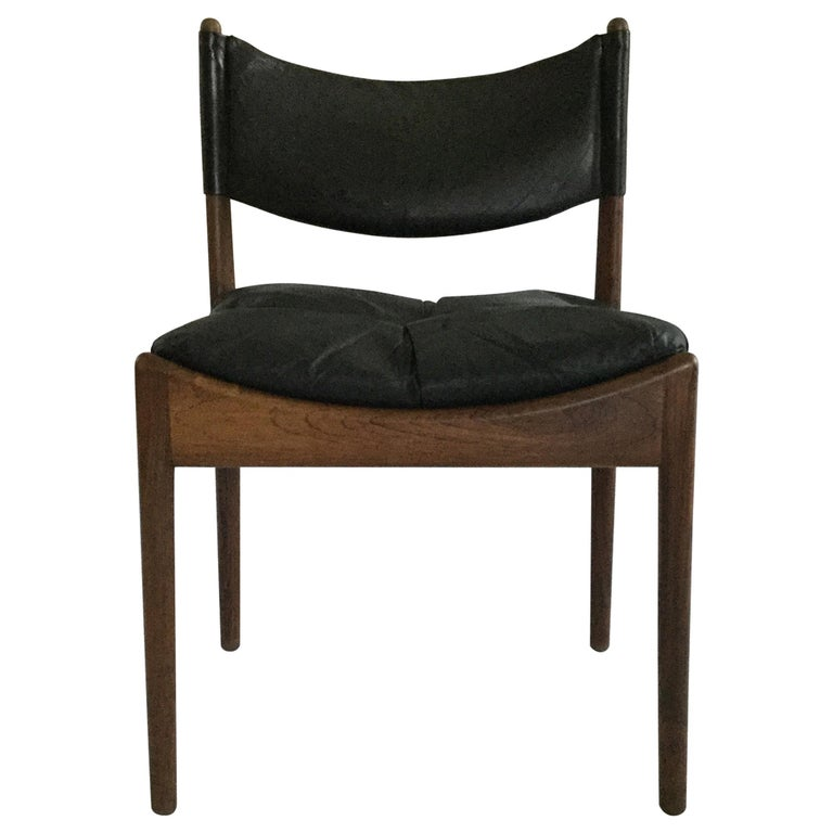 6 Kristian Solmer Vedel Rosewood and Leather Dining Chairs For Sale