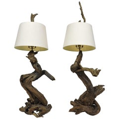 Pair of Monumental Size Mid-Century Modern Sculptural Driftwood Lamps
