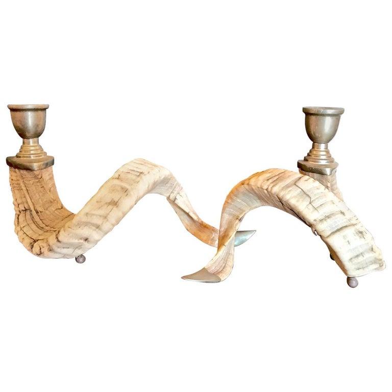 Pair of Ram's Horn Candlesticks
