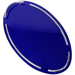 Spectacular Cobalt Blue Glass with Chrome Art Deco Oval Serving or Dresser Tray