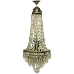 Elegant Empire Style Crystal and Bras Chandelier, Italy, circa 1950s