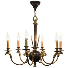 French Empire Style Gilt Bronze Eagle Heads Chandelier, circa 1930s