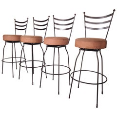 Set of Four Industrial Swivel Stools