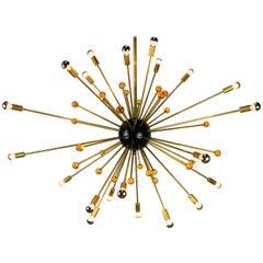 Massive Italian Design Sputnik Stilnovo Chandelier 1950s Black Brass Orange