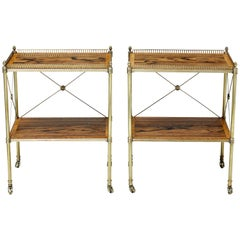 Pair of 1950s Brass and Rosewood Serving Tables