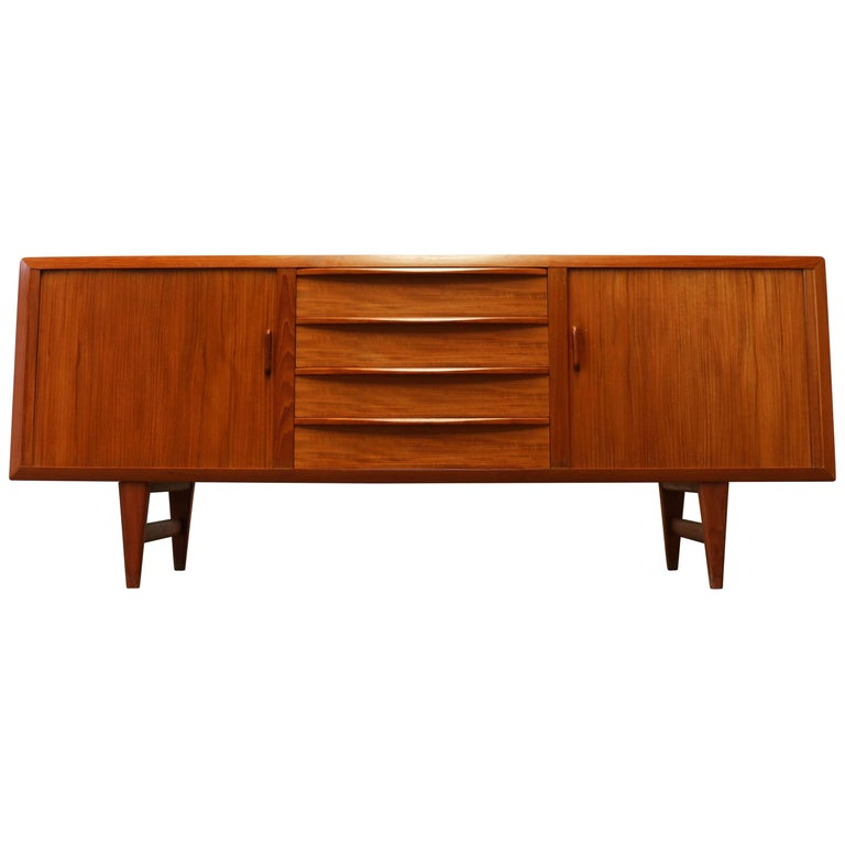 Rare Danish Sideboard / Credenza by Ib Kofod Larsen for Faarup Teak 1950s Brown For Sale