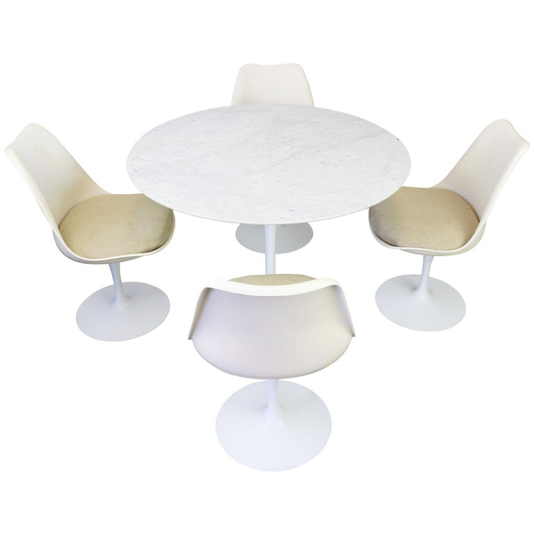 Original 1960s Knoll Tulip Dining Set Marble Eero Saarinen Knoll International