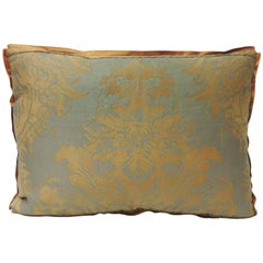 "Fortuny Vintage Burn Orange and Silvery ""Medici"" Decorative Pillow"