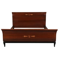 Stylish Guido Pennati Queen-Size Bed Frame, Completely Restored