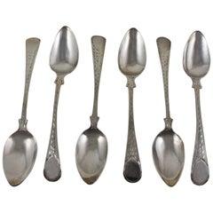 Joseph Hicks English George III Bright Cut Sterling Silver Teaspoons, Set of Six