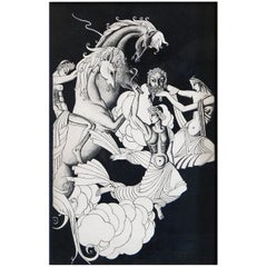 """""""Gods in the Sky,"""" Tour de Force, High-Style Art Deco Ink Drawing with Nudes"""