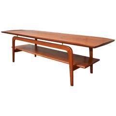 Danish Teak Coffee Table by Arne Hovmand Olsen, Flared Edges, Slab Shelf