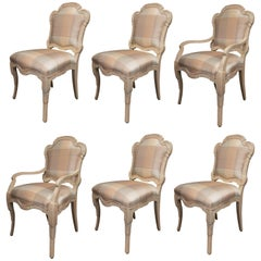 Set of Six Cream Painted Stylized Louis XVI Style Upholstered Dining Chairs
