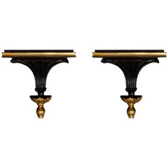 Pair of Regency Style Ebonized and Parcel-Gilt Brackets