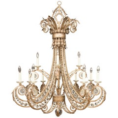Iron and Crystal Twelve-Light Chandelier